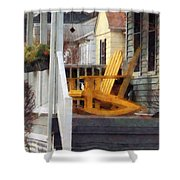 Yellow Adirondack Rocking Chairs Shower Curtain by Susan Savad