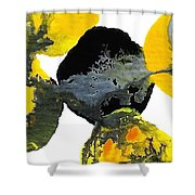 Yellow And Gray Interactions 4 Shower Curtain by Amy Vangsgard