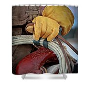 Yellow Gloves Shower Curtain by Inge Johnsson