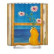Yellow Vase With Sea View Shower Curtain by Pamela Allegretto