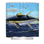 Yellowfin Crash Off0081 Shower Curtain by Carey Chen