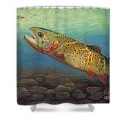 Yellowstone Cut Takes A Salmon Fly Shower Curtain by Rob Corsetti