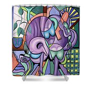 Yoga With A Friend And Hot Apple Pie Shower Curtain by Anthony Falbo