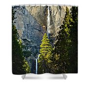 Yosemite Falls With Late Afternoon Light In Yosemite National Park. Shower Curtain by Jamie Pham