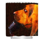 You Ain't Nothing But A Hound Dog - Dark - Painterly Shower Curtain by Wingsdomain Art and Photography