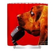 You Ain't Nothing But A Hound Dog - Red - Electric Shower Curtain by Wingsdomain Art and Photography