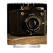 You Push The Button We Do The Rest Kodak Brownie Vintage Camera Shower Curtain by Edward Fielding