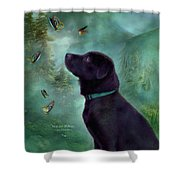 Young Lab And Buttys Shower Curtain by Carol Cavalaris