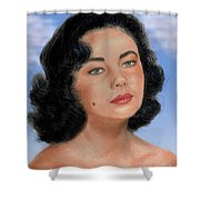 Young Liz Taylor Portrait Remake Version II Shower Curtain by Jim Fitzpatrick