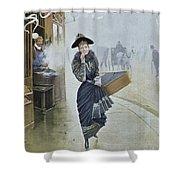 Young Parisian Hatmaker Shower Curtain by Jean Beraud