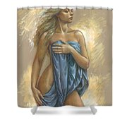 Young Woman With Blue Drape Shower Curtain by Zorina Baldescu