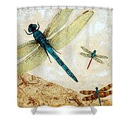 Zen Flight - Dragonfly Art By Sharon Cummings Shower Curtain by Sharon Cummings
