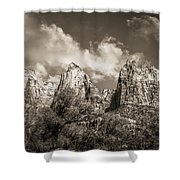Zion Court Of The Patriarchs In Sepia Shower Curtain by Tammy Wetzel