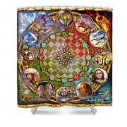 Zodiac Mandala Shower Curtain by Ciro Marchetti
