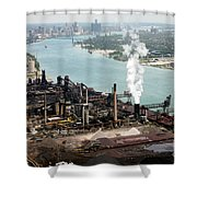 Zug Island Industrial Area Of Detroit Shower Curtain by Bill Cobb