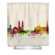 Zurich Switzerland Skyline Shower Curtain by Michael Tompsett