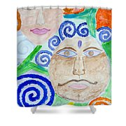Faces Shower Curtain by Sonali Gangane