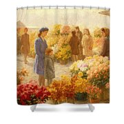 Flower Market  Shower Curtain by Hendrik Heyligers