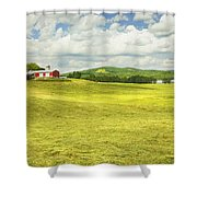 Hay Harvesting In Field Outside Red Barn Maine Shower Curtain by Keith Webber Jr