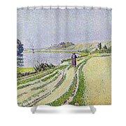 Herblay La River  Shower Curtain by Paul Signac