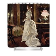 Interior scene with a lady in a white evening dress  Shower Curtain by Paul Fischer