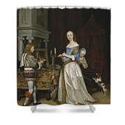 Lady At Her Toilette Shower Curtain by Gerard ter Borch