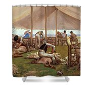 The Sheep Shearing Match Shower Curtain by Eyre Crowe