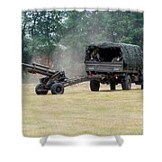 A Belgian Artillery Unit Setting Shower Curtain by Luc De Jaeger