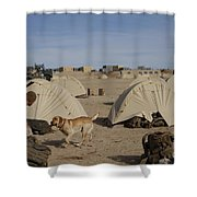 A Dog Handler And His Military Working Shower Curtain by Stocktrek Images