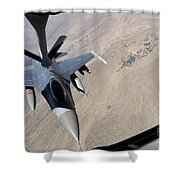 An F-16 Fighting Falcon Receives Fuel Shower Curtain by Stocktrek Images