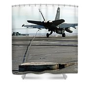 An Fa-18c Hornet Makes An Arrested Shower Curtain by Stocktrek Images