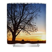 Bare Tree At Sunset Shower Curtain by Skip Nall