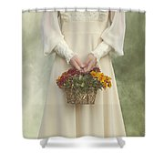 Basket With Flowers Shower Curtain by Joana Kruse