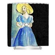 Blue Gown Shower Curtain by Mel Thompson