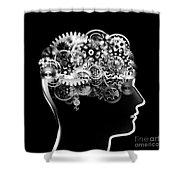 Brain Design By Cogs And Gears Shower Curtain by Setsiri Silapasuwanchai