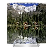 Cabins, Sargents Point, Lake Ohara Shower Curtain by John Sylvester