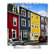 Colorful houses in St. John's Newfoundland Shower Curtain by Elena Elisseeva