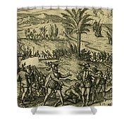 Columbus Arrested Shower Curtain by Photo Researchers