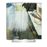 Dancer In Her Dressing Room Shower Curtain by Edgar Degas
