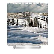 Drifting Snow Along The Beach Fences At Nauset Beach In Orleans  Shower Curtain by Matt Suess