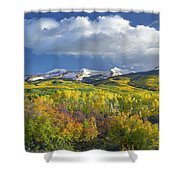 East Beckwith Mountain Flanked By Fall Shower Curtain by Tim Fitzharris