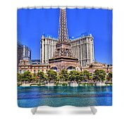 Eiffel Tower Las Vegas Shower Curtain by Nicholas  Grunas