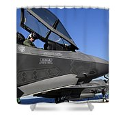F-35b Lightning II Variants Are Secured Shower Curtain by Stocktrek Images