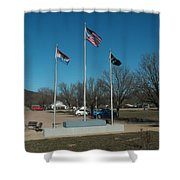 Flags With Blue Sky Shower Curtain by Kip DeVore