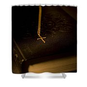 Gold Cross Pendant Resting On A Book Shower Curtain by Philippe Widling