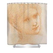 Head Study Of A Girl Shower Curtain by Sir Edward Burne-Jones