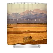 High Plains Of Alberta With Rocky Mountains In Distance Shower Curtain by Mark Duffy