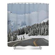 Highway 40 In Winter, Highwood Pass Shower Curtain by Darwin Wiggett