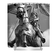 Joan Of Arc Statue French Quarter New Orleans Black And White Shower Curtain by Shawn O'Brien