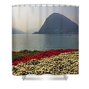 Lake Lugano - Monte Salvatore Shower Curtain by Joana Kruse